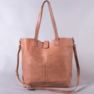 Leather Large Tote Bag Dusty Rose - Ethically Made